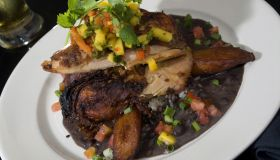Festive jerk chicken with black beans and rice