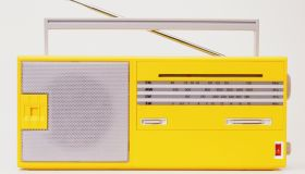 Yellow radio, front view.