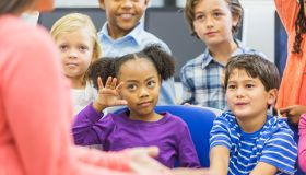 Multi-ethnic group of children, girl raising hand