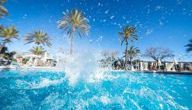 Splashing water in pool