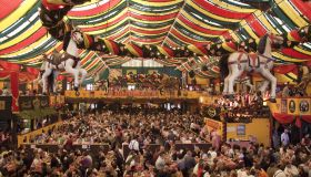 The interior of the Hippodrom Beer Tent, Oktoberfest, Munich, Germany