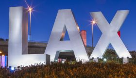 LAX sign at entrance to Los Angeles International Airport.