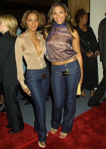 Toni Braxton & sister Tamar attending the premiere of 'Kingdom Come' at the Writer's Guild Theater in Beverly Hills 4/4/01