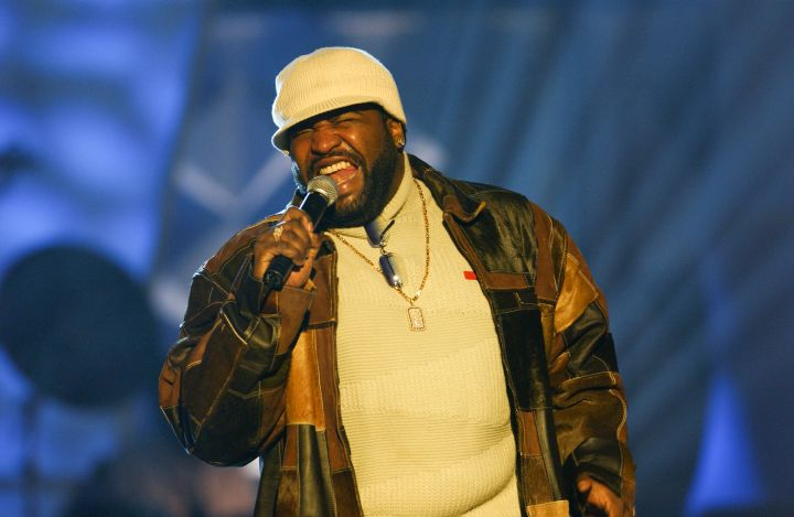 Gerald Levert performs during rehearsals for the 2003 BET...