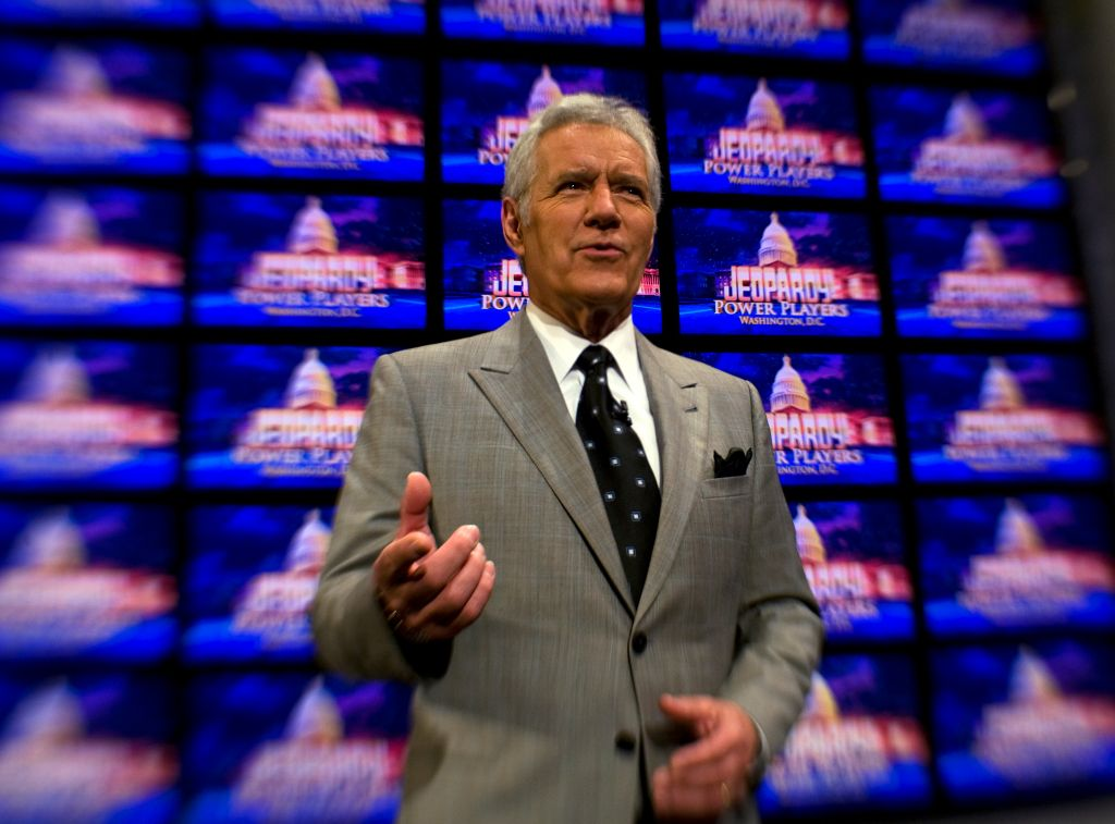 Alex Trebek Fims Jeopardy At DAR Constitution Hall In Washington DC