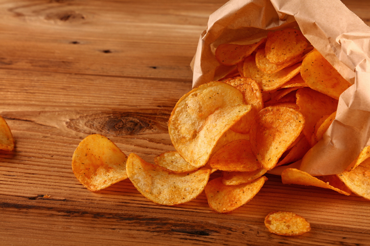 High Angle View Of Potato Chips On Table