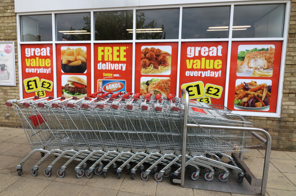 Shopping trolleys seen outside an Iceland store, One of the...