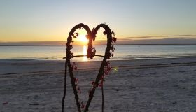 Heart Shape At Beach During Sunset