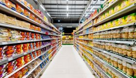 Aisles and shelves in supermarket, empty supermarket during Coronavirus lockdown