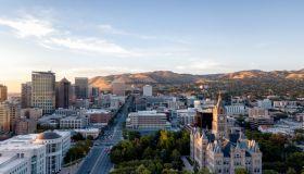 Aerial Image of Downtown Salt Lake City Utah at Dusk